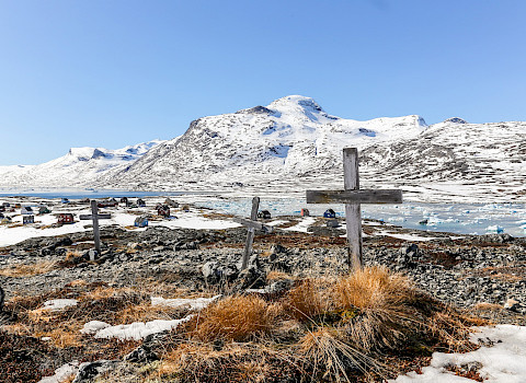 Abandoned cemetery in Qoornoq, Greenland - former fishermen village in the Nuuk fjord